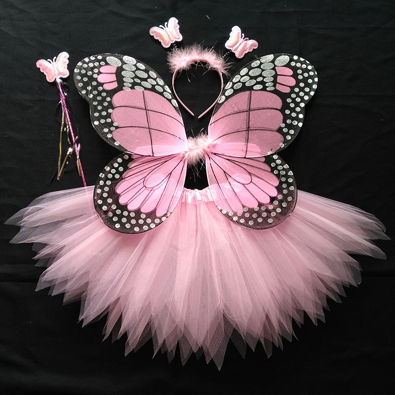 Coshome Children Butterfly Cosplay Princess Costumes Baby Boys Girls Kids Stage Performance Wings+Skirt+Headdress+Wands 4pcsSet (3)