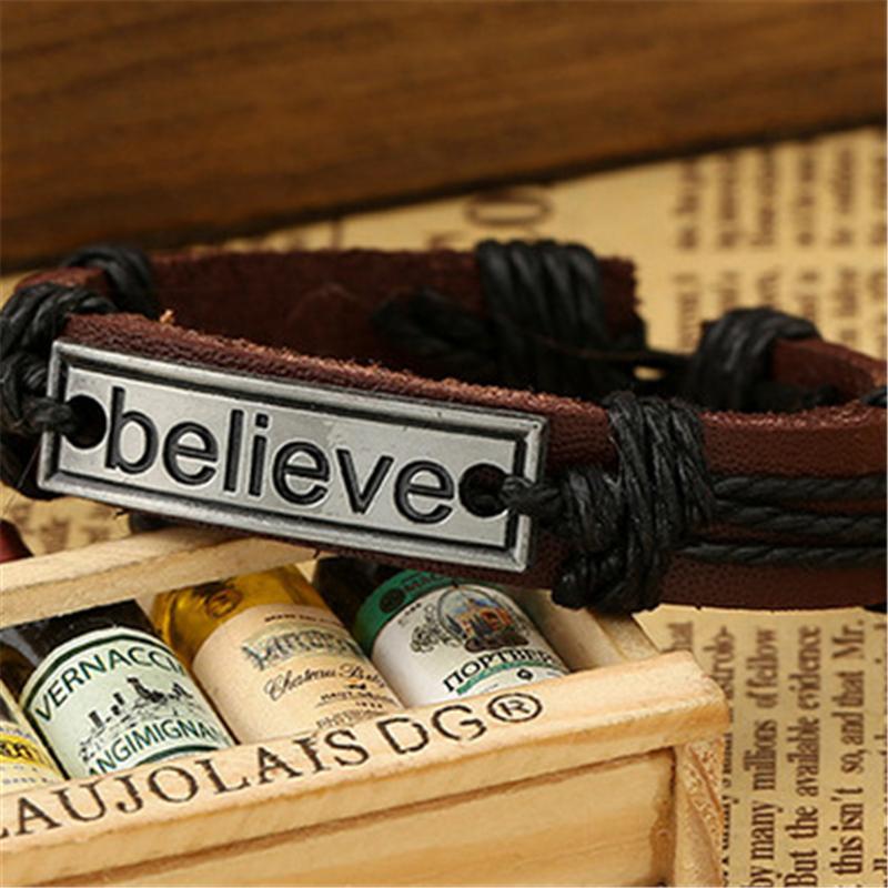 Braccialetto di cuoio genuino del braccialetto del Mens degli uomini della retro catena dell'acciaio inossidabile per i braccialetti di fascino del braccialetto dei gioielli degli uomini di via registrabili