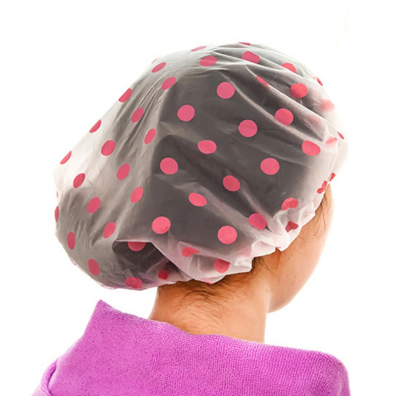 Pink+Blue Sunflower pattern Reusable Disposable Shower Caps Elastic Bath Shower Hat Full-Size for Adult Women Ladies Pack of 2