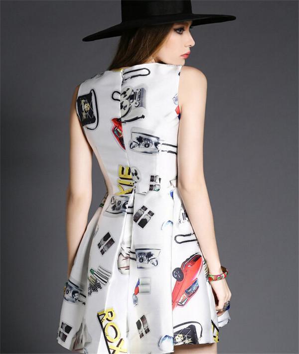 Plus Size Mini Dresses Nice Summer Dresses Print European Leg of the New Women Slim Sleeveless TuTu Ball Gown Blending Ladies Summer Dress