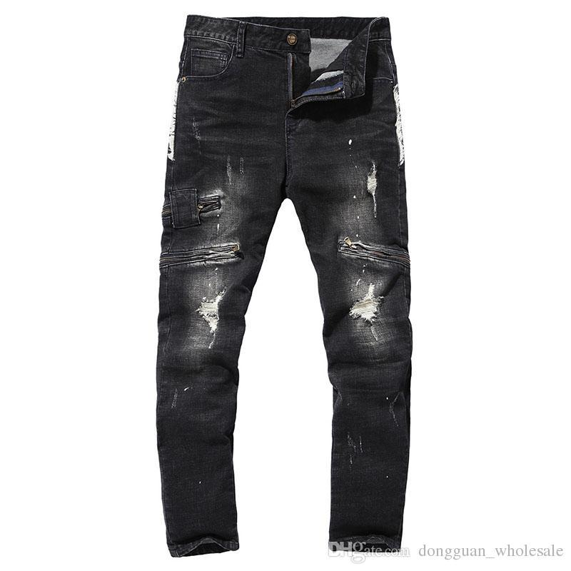 Men€s Personality Popular Clothing Style Hole Patch Jeans Denim Pencil Pants Motorcycle Men Straight Beggar Trousers