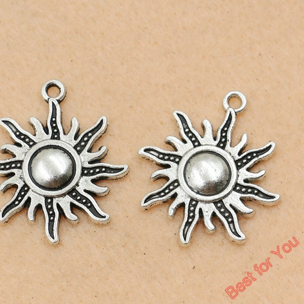 Plata Maravilloso Diseño Moderno Sol Colgantes 16x19mm 25 un.-Sun Charms