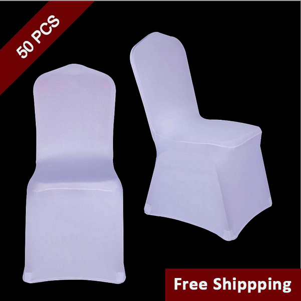50PC White Polyester Spandex Wedding Chair Cover for Ceremony Event Folding Hotel Banquet Seat Chair Cover New Universal Size Chair Covers