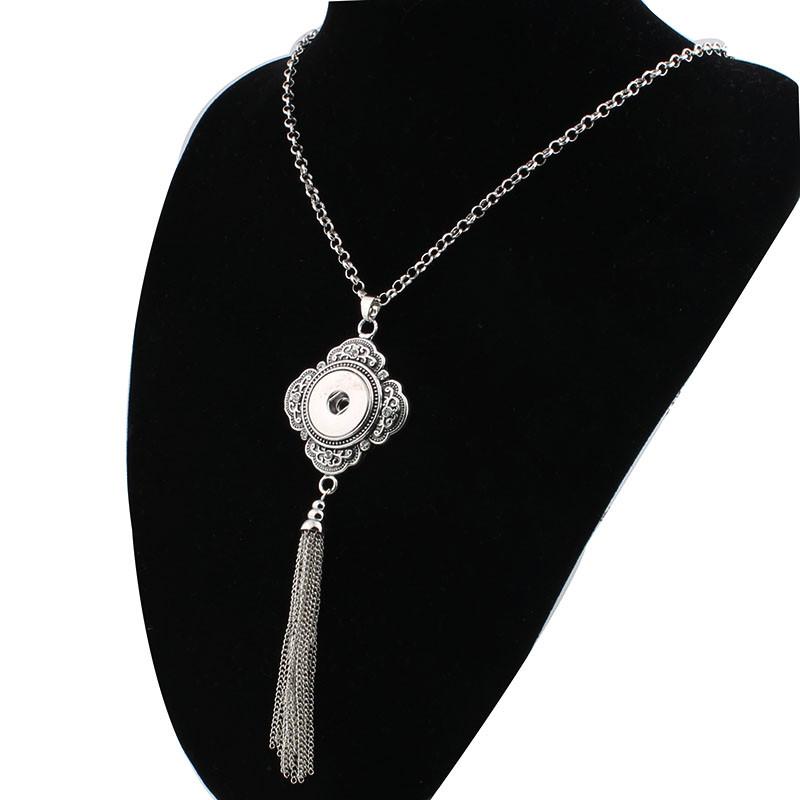 Women-s-Vintage-tassel-18mm-snap-button-necklace-boho-bohemian-necklaces-pendants-DIY-Jewelry-for-men