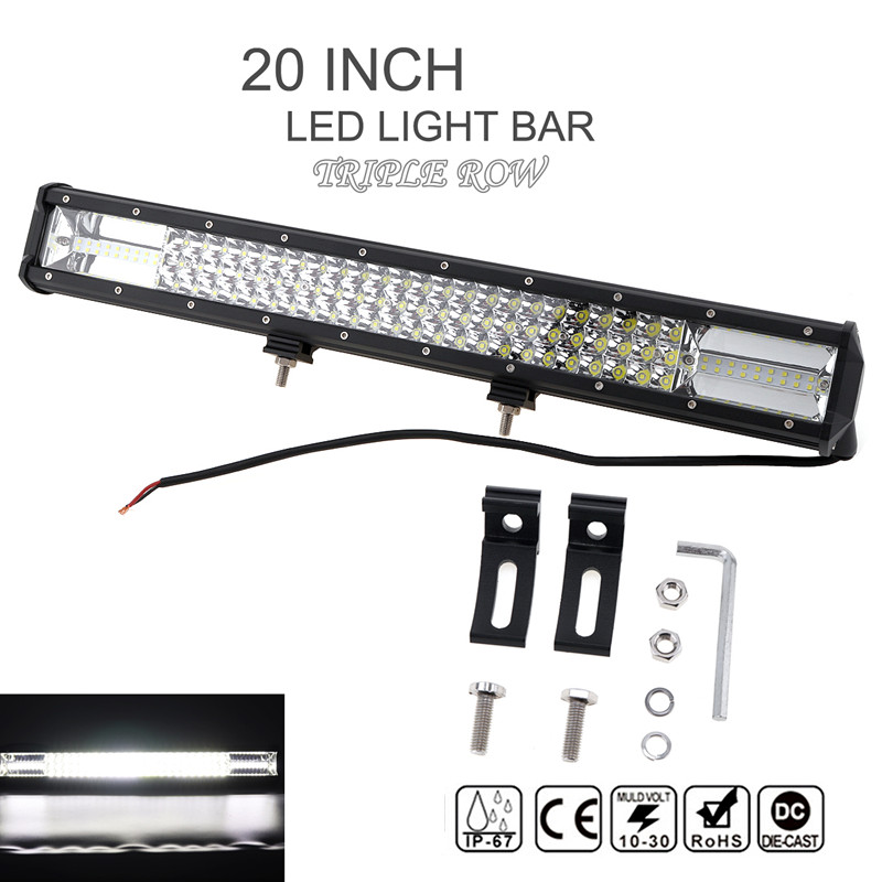 Willpower 22 Inch 324W LED Light Bar Spot Flood Combo Beam CREE 7D Off Road Lights Triple Row Waterproof Work Lamp with Mounting Bracket for Trucks 4x4 SUV ATV UTV Boat