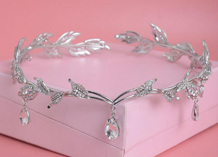 Vintage Crystal Bridal Hair Accessory Wedding Rhinestone Waterdrop Leaf Tiara Crown Headband Frontlet Bridesmaid Hair Jewelry (5)