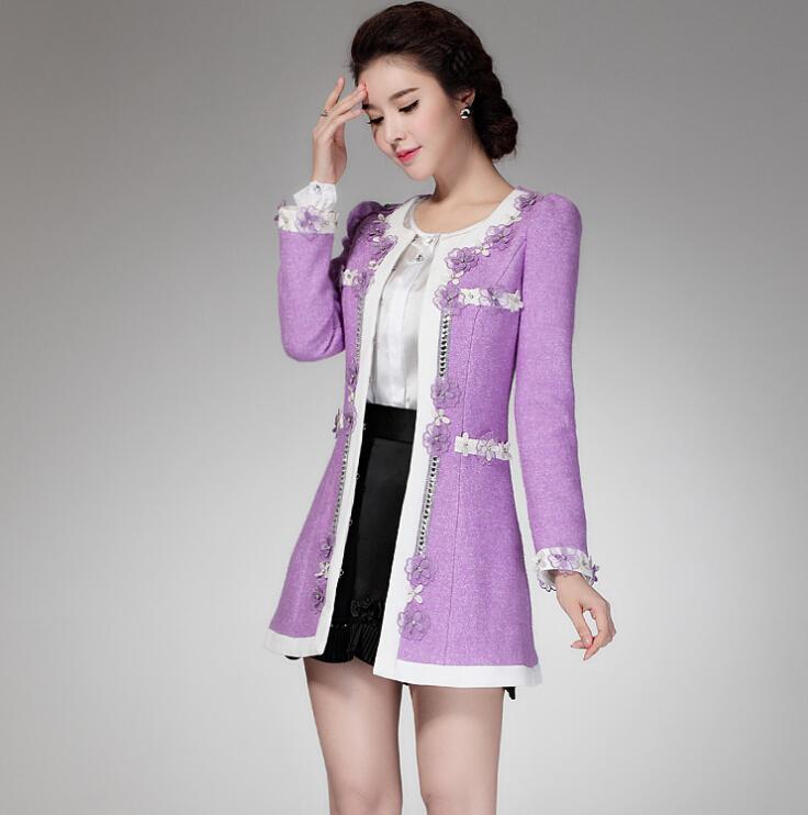 Belle hiver coréen Womens nouvelle mode fleur perlée mince long manteau d'hiver de laine à manches longues Patchwork Violet manteaux manteaux pour femmes