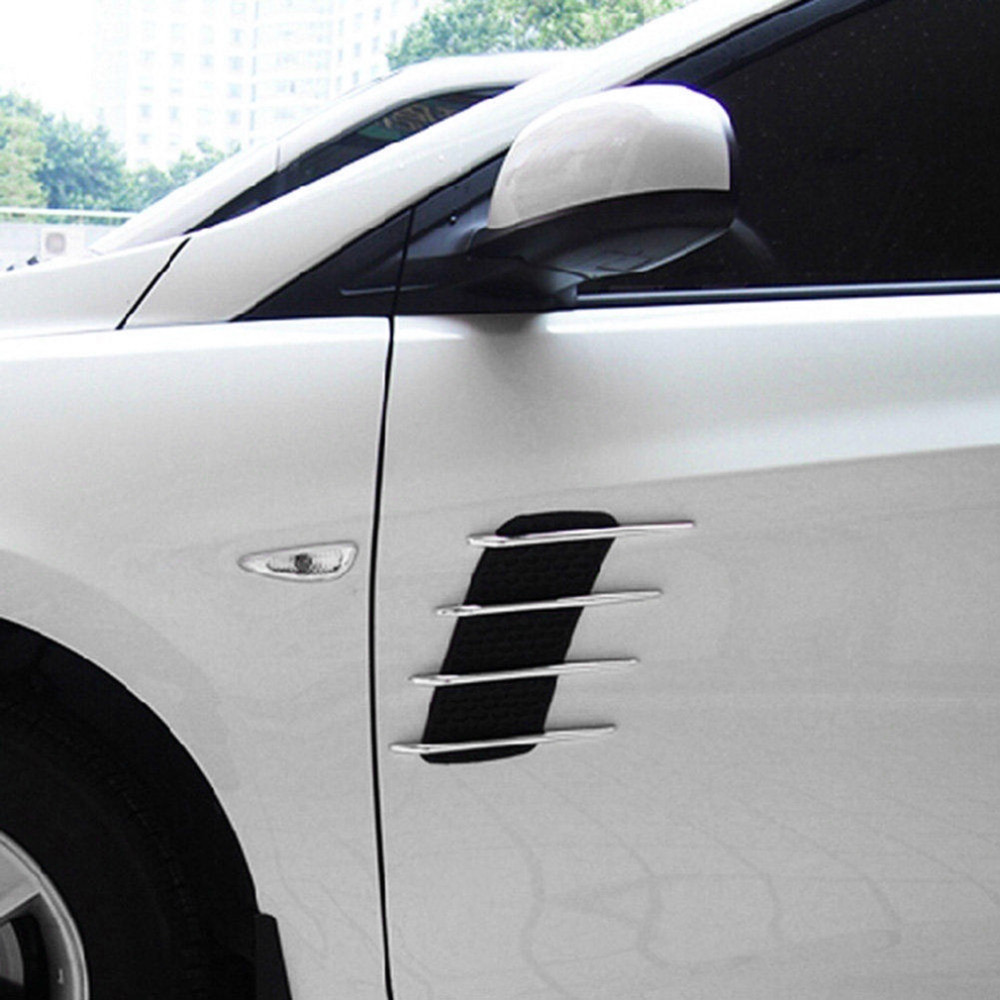 2Pcs ABS Plating Auto Car Air Flow Fender Intake Side Vent Decor Sticker Silver