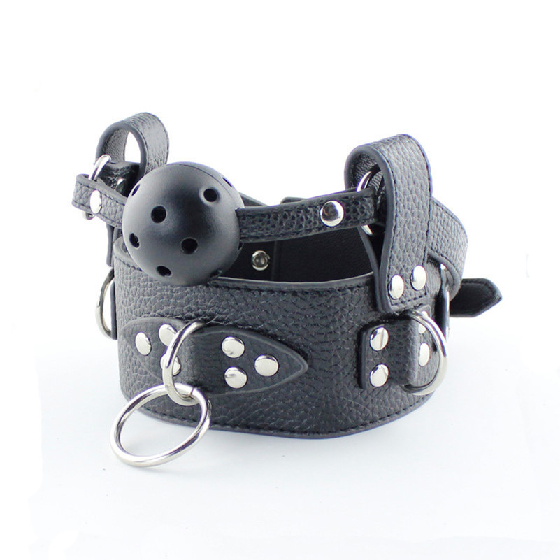 Black PU Leather Collar Mouth Gag Sex Dog slave Neck Restraint Strap On Chain Or Rope Restraint Sex Toys For couples