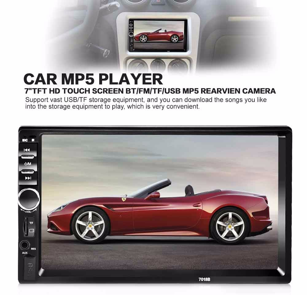 """Camera US 7/"""" Touch Screen Car Stereo Radio MP5 Player 2 Din Auto USB AUX FM BT"""