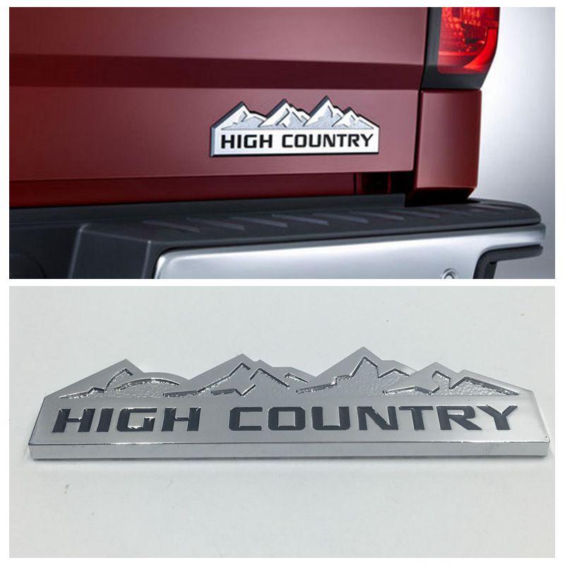 For Chevrolet Silverado Car Fender or Tail Gate Chrome Badge Sticker HIGH COUNTRY Logo Emblem Nameplate