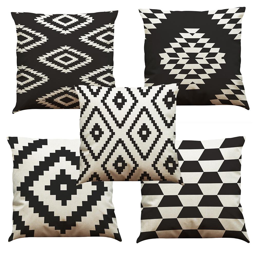 Cuscini Bianchi E Neri cuscino in lino bianco e nero cuscino per la casa divano per ufficio  cuscino quadrato cuscino decorativo federe federe senza inserto (18 * 18)