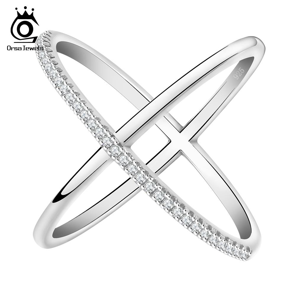 Orsajewels Solide Argent Sterling 925 Zircone Cubique Cristal Pendentif Croix Collier Chaîne
