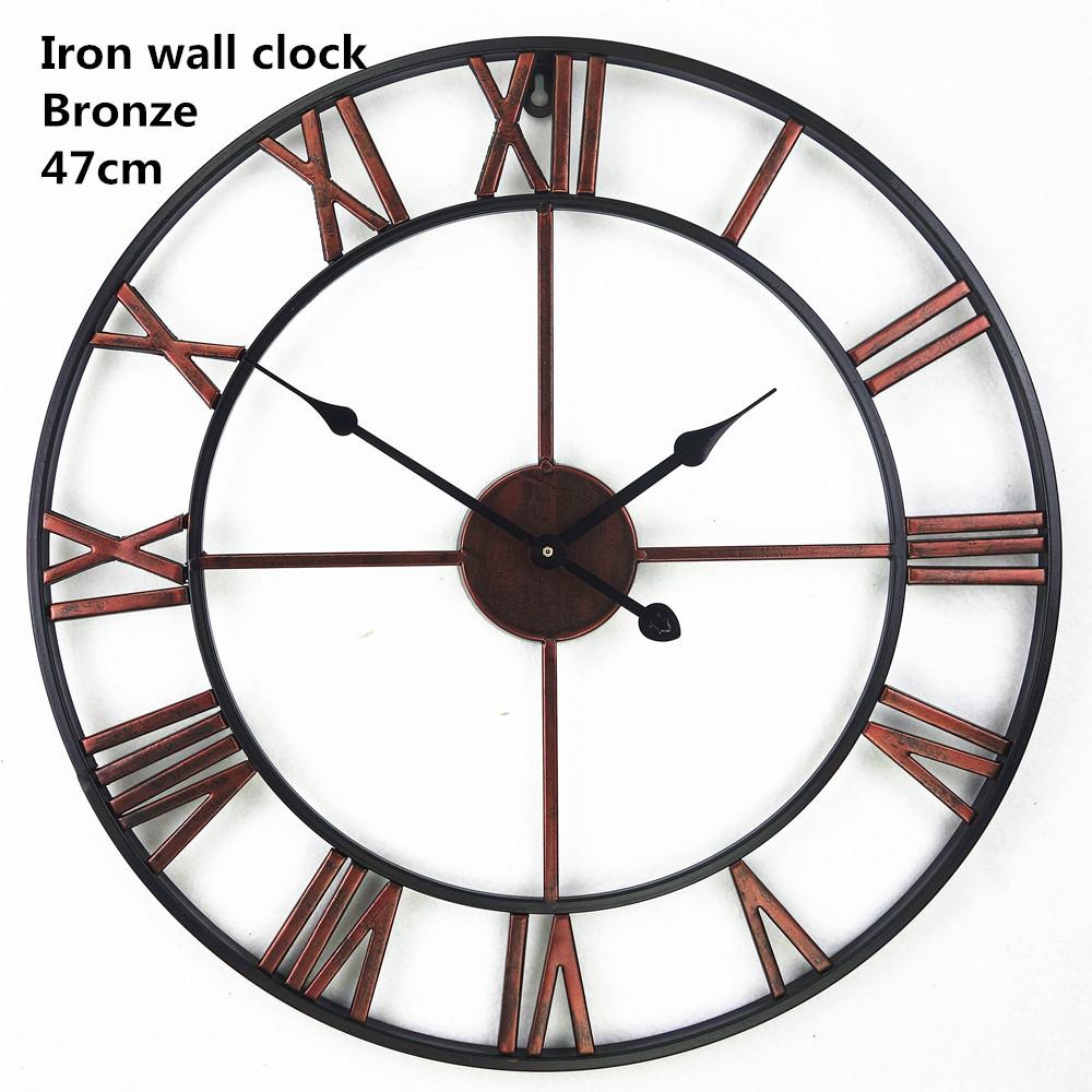 Grosse Horloge Fer Forgé horloge murale décorative vintage en fer forgé 3d surdimensionné