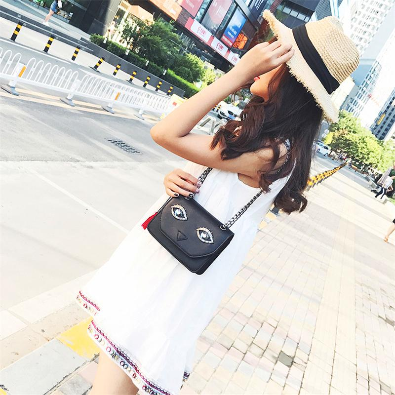 Art- und Weisebeutel-Kreuz-Körper-kleine quadratische Taschen-Großhandelsneue koreanische Version der Schulter eingewickelt um Persönlichkeits-große Augen-Pakete