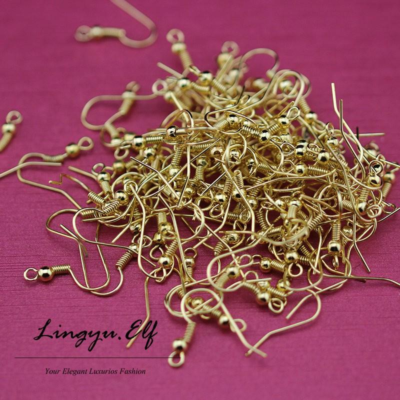 1000pcs/lot 18K Gold Earring Earwires & Clips - Findings 2mm flat back post earring findings Earring Hooks/ DIY Jewelry Findings