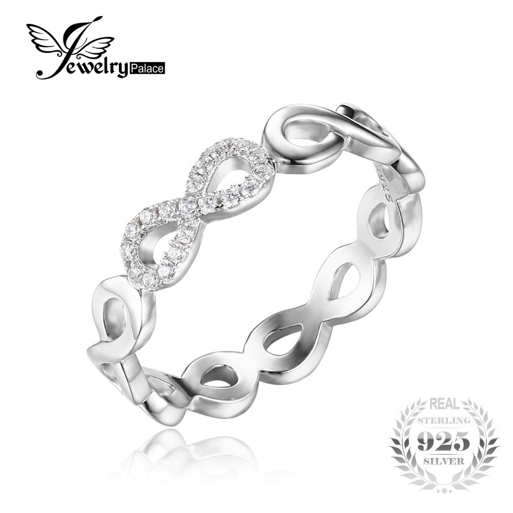 Voroco Infinity S925 Anillo de plata esterlina auténticas joyas para Niña Mujeres Regalo