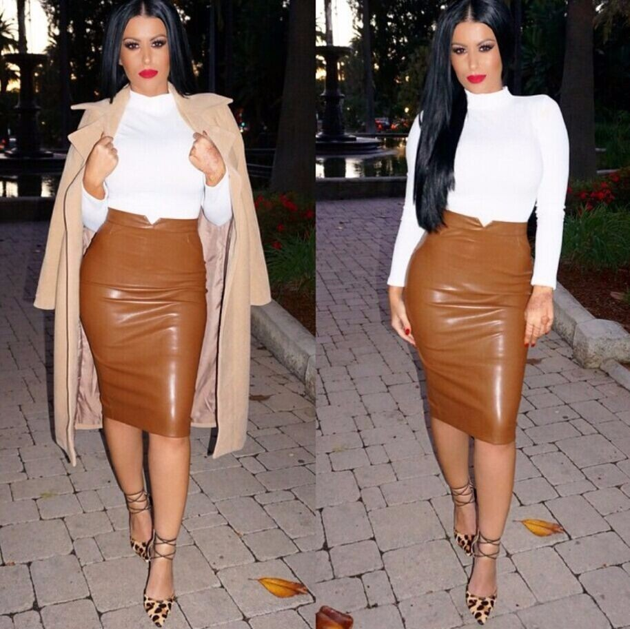 2017 Women Pu Leather Skirt Autumn Streetwear Casual Office Work ...