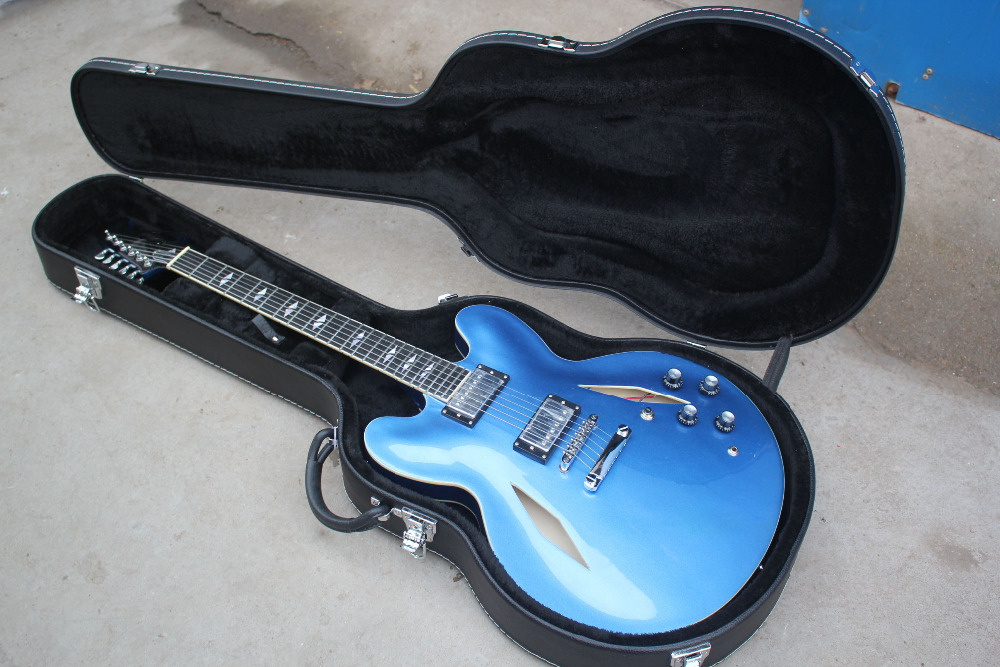 Dave Grohl DG 335 Metallic Blue Semi Hollow Body Jazz Electric Guitar Guitarra Split Diamond Inlay, Double F Holes, Chrome Hardware