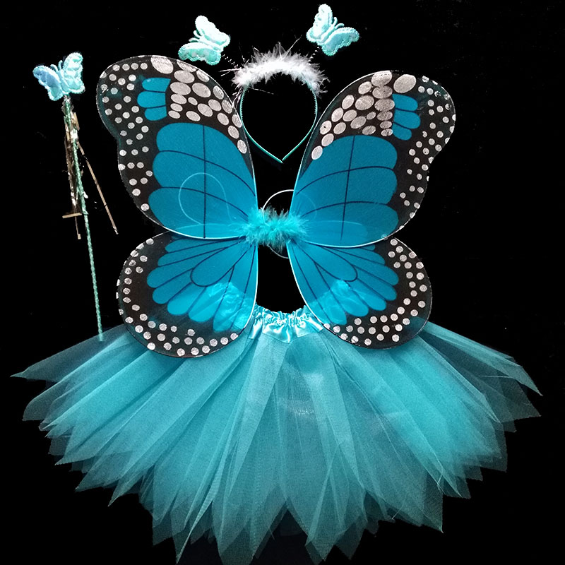 Coshome Children Butterfly Cosplay Princess Costumes Baby Boys Girls Kids Stage Performance Wings+Skirt+Headdress+Wands 4pcsSet (4)