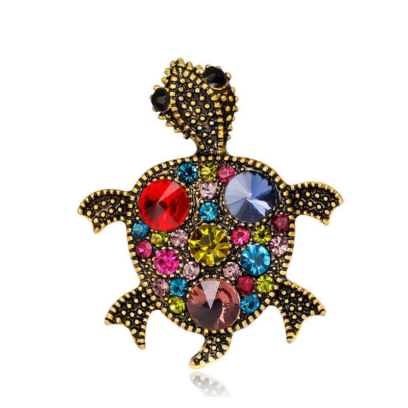 Rétro Style Vintage Goldtone Libellule Oiseau Broche Pin marron strass cristal