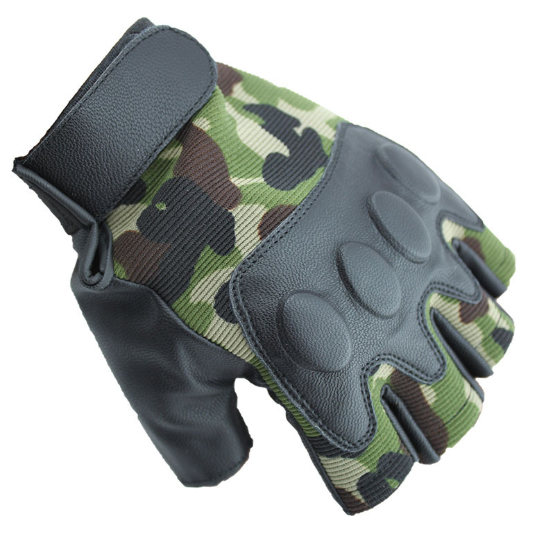 Half Finger Cycling Gloves Men New outdoor sports tactics half gloves soft and comfortable imitation leather bike riding semi-finger gloves
