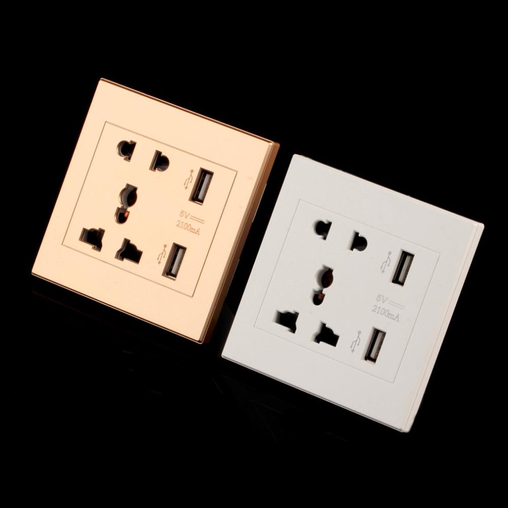 2.1 Double Port USB Prise murale téléphone Chargeur Plug Power Outlet Plaque Panneau 13 A