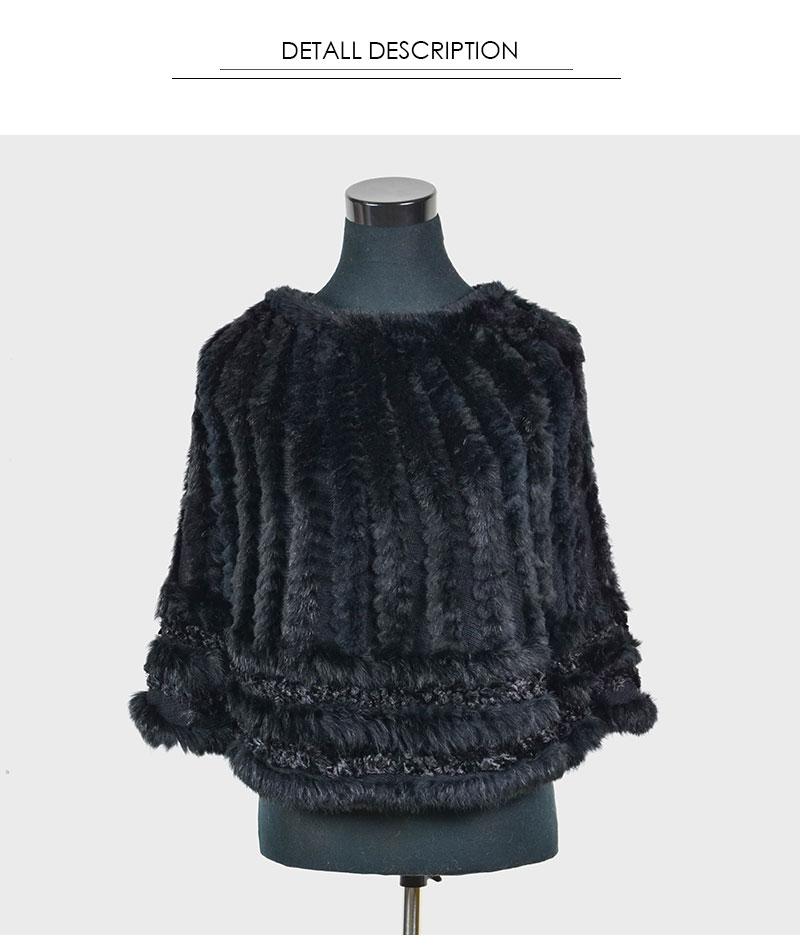 $199 Genuine Rabbit Fur Poncho black