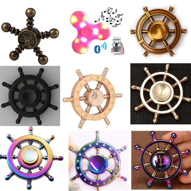 Tri Metal Cross Hand Spinner Fidget ADHD Focus Stress Reliever Bronze W Gift Box