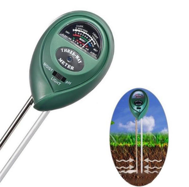 Medidor de pH y Humedad del suelo con Temperatura KC-300 Luz Metro