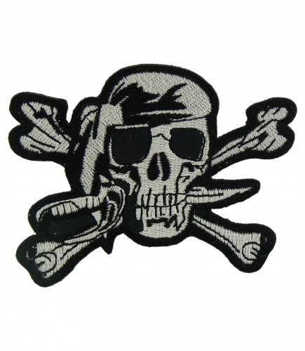 Cute Waving Skeleton Biker Blue waving skuIl Embroidered iron On Patch #1030B