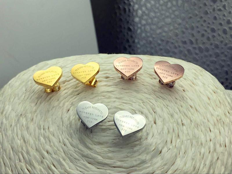 DHgate coupon: Hot sell forever love earrings 316L Stainless Steel love stud earrings heart sharpe earrings for women men Couples fine jewlery wholesale