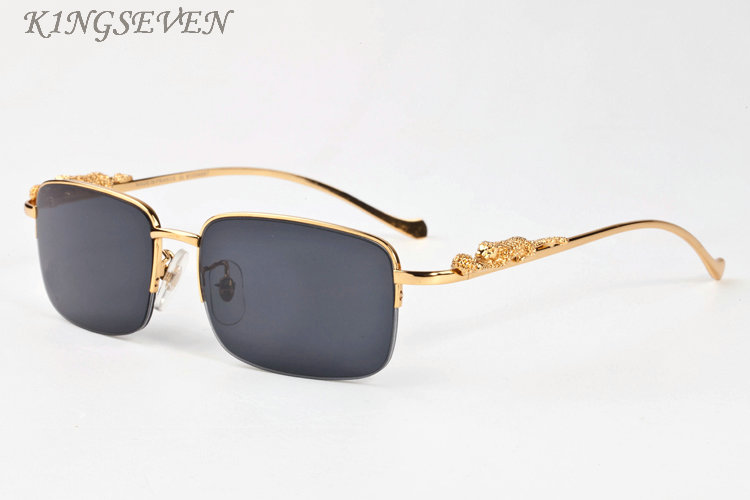 DHgate coupon: 2020 vintage retro mens polaroid sunglasses for women fashio cool gold silver leopard pattern metal frame rimless black brown clear lens