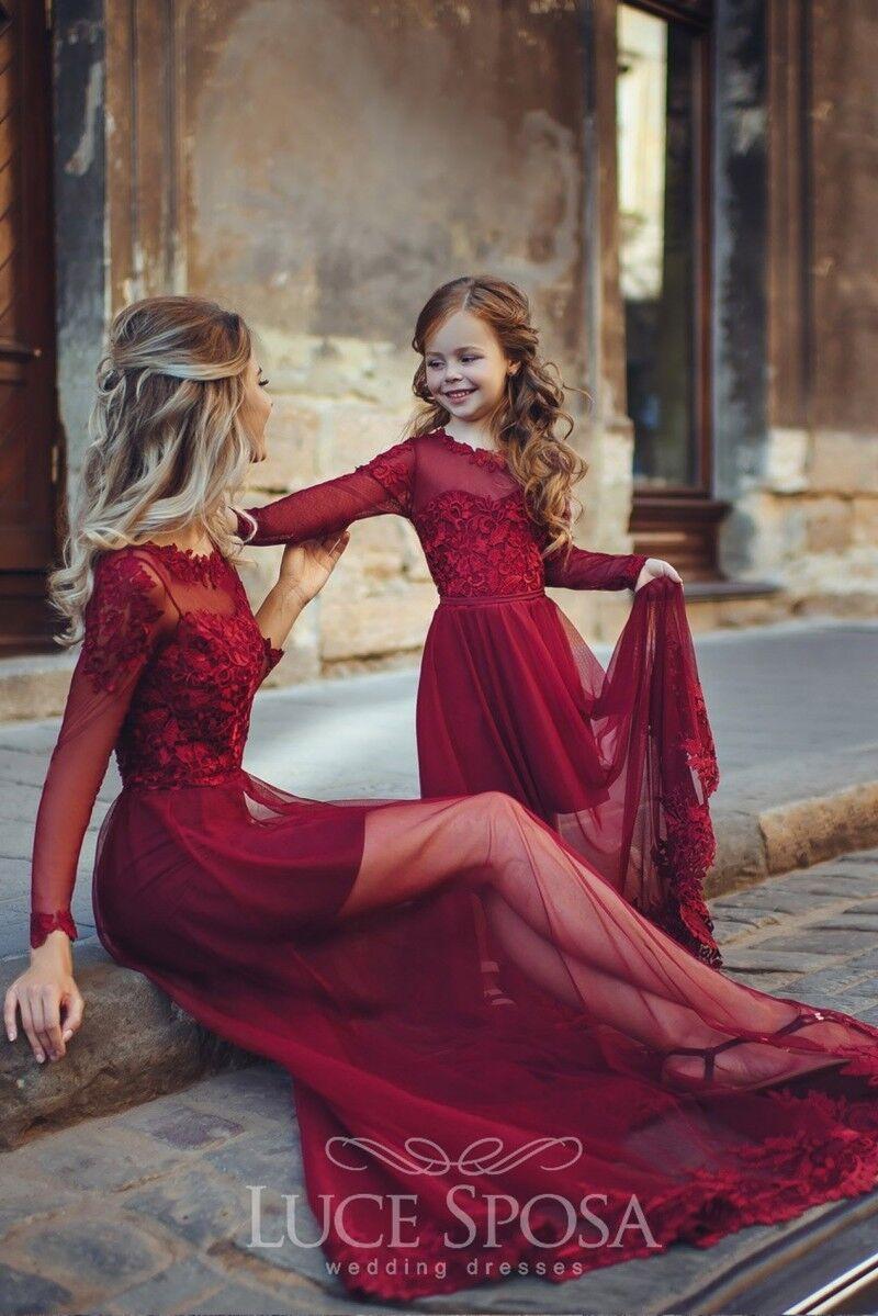 Rot 18 Stück Mutter und Tochter Party Kleider eine Linie schiere Rock Mode  Familie Abendkleider Mutter Kind Kleid