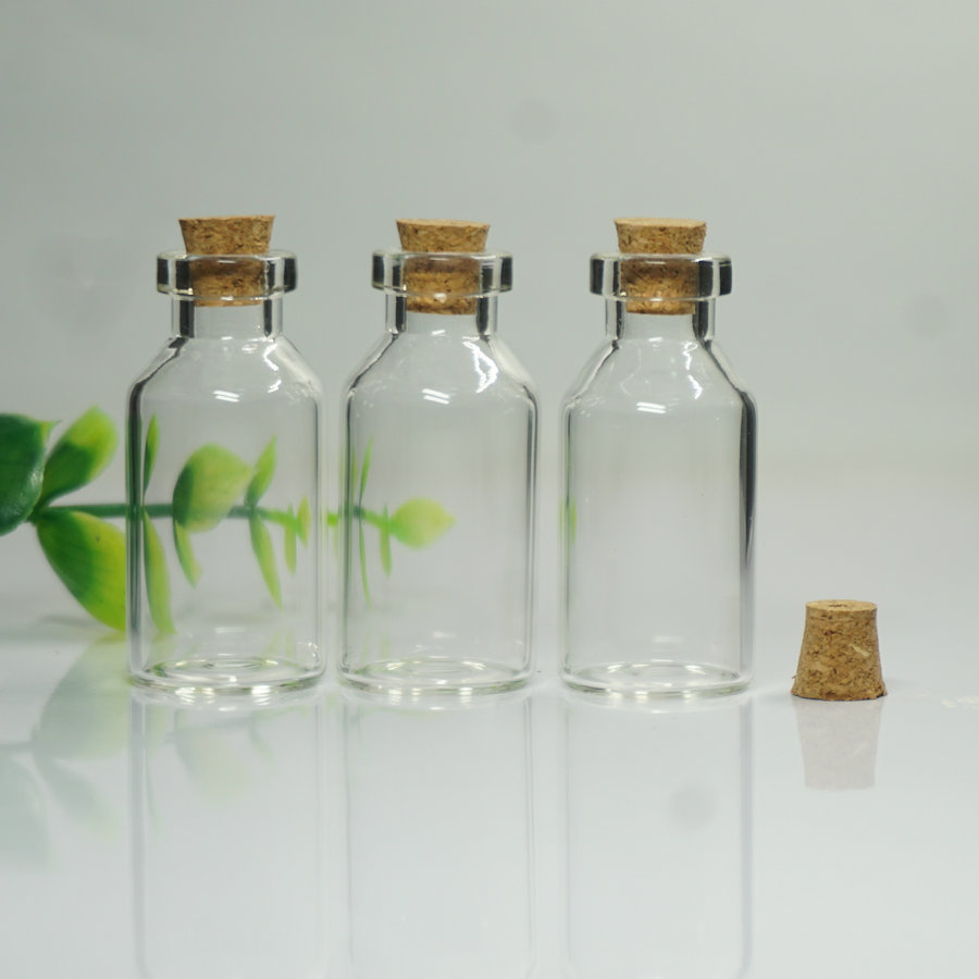 CARCASA Transparente Mini Pequeña tapón vial de vidrio Botella de deriva deseando botella de contenedores