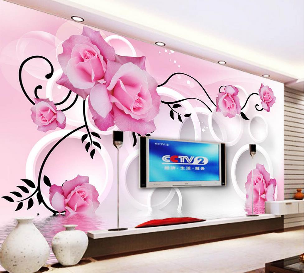 Custom Any Size Living Room Rose Reflection 3D Circle TV Wall Mural 3d Wallpaper 3d Wall Papers For Tv Backdrop