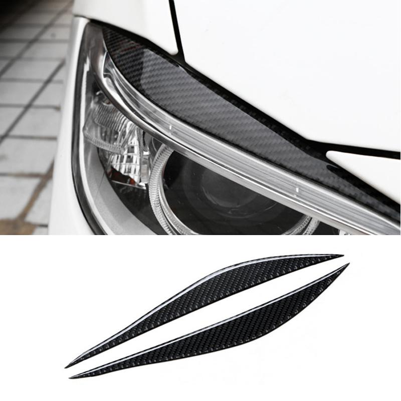 2pcs Carbon Fiber Headlights Eyelids Headlamp Strip Trim For BMW E90 2005-2012