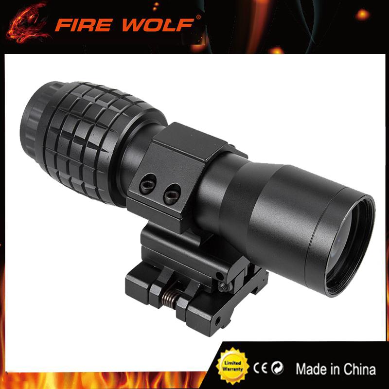 Hunting 4X Magnifier Scope Red Dot Scope Focus Adjusted w// QD Flip UP Mount Side