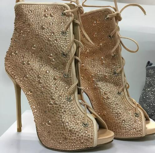 Champagne/silver colors spring autumn lace up peep toe women ankle boots super high heels crystals charming short boots 35-42