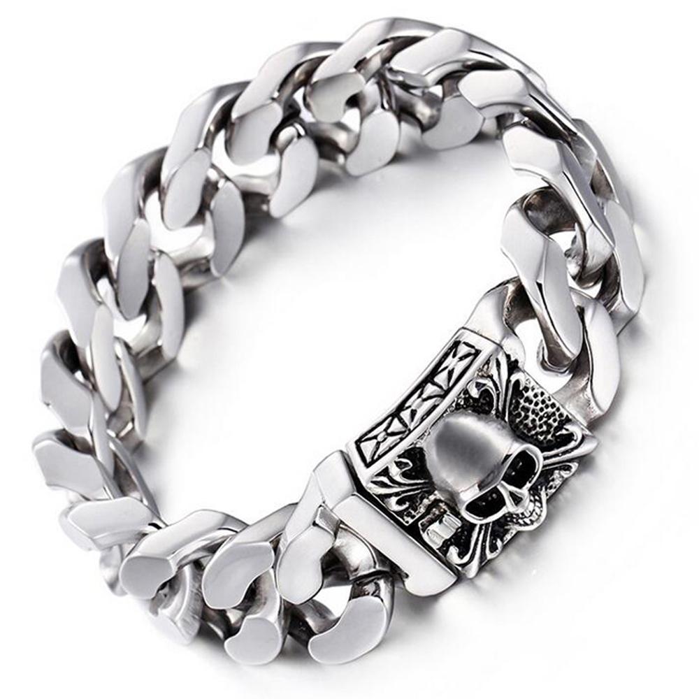 Para hombre de lujo Collar de Plata de Acero Inoxidable Pesado Eslabón Cubano de Miami Cadena Cristal