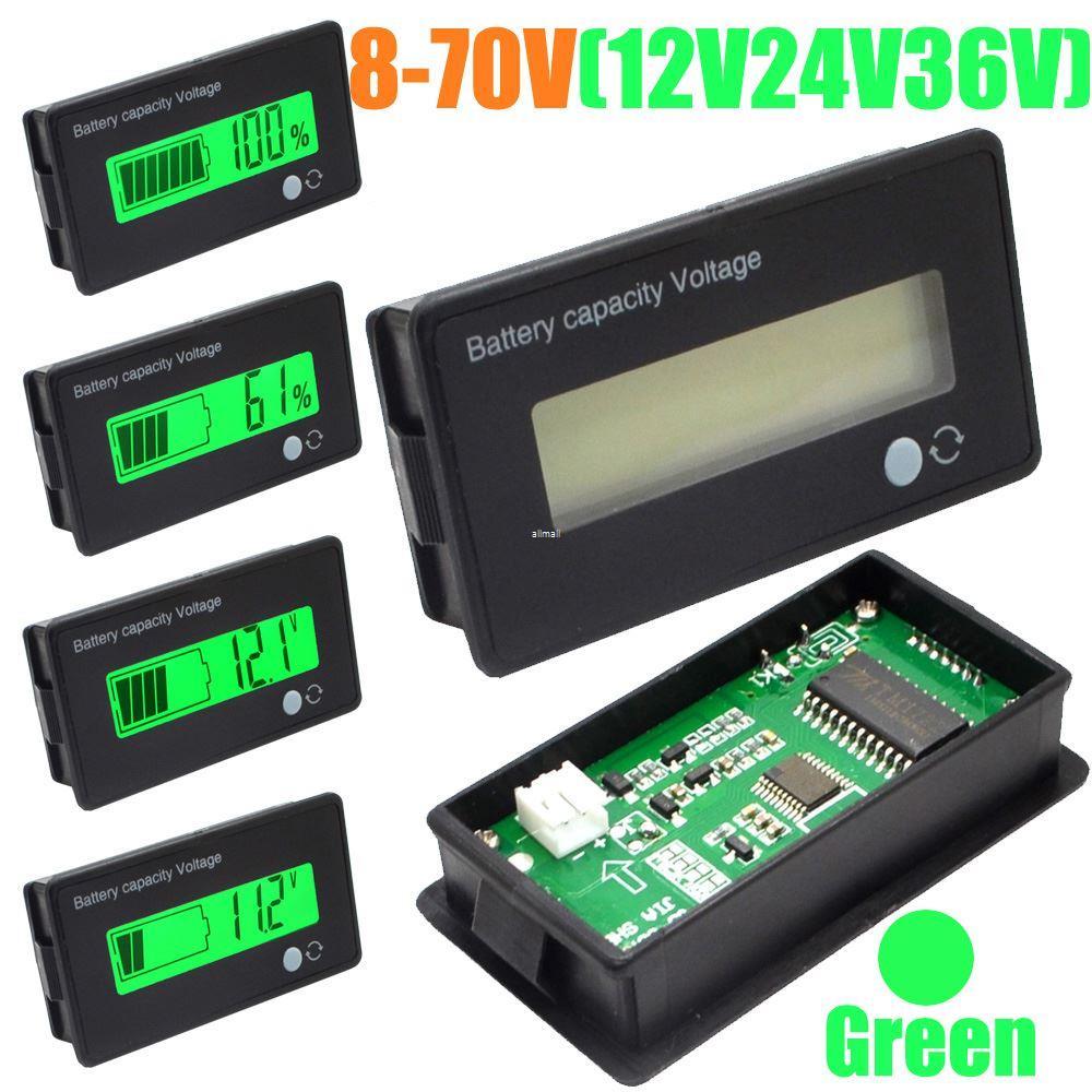 LCD Digitaler Batteriekapazit/ät-Monitor Gemeinsame Volt Meter Batteriekapazit/ät Meter Voltmeter f/ür f/ür Fahrzeug-Batterie LCD-Batterie-Kapazit/äts-Monitor-Messger/ät Meter,12V//24V//48V//60V//72V//84V