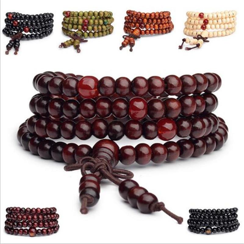 8mm Budismo Tibetano Mala Oración Pulsera de perlas 108 granos de Sandalias neckl Lq