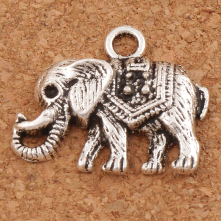 Pendientes encantadoras Boho Elefante De Plata Antigua