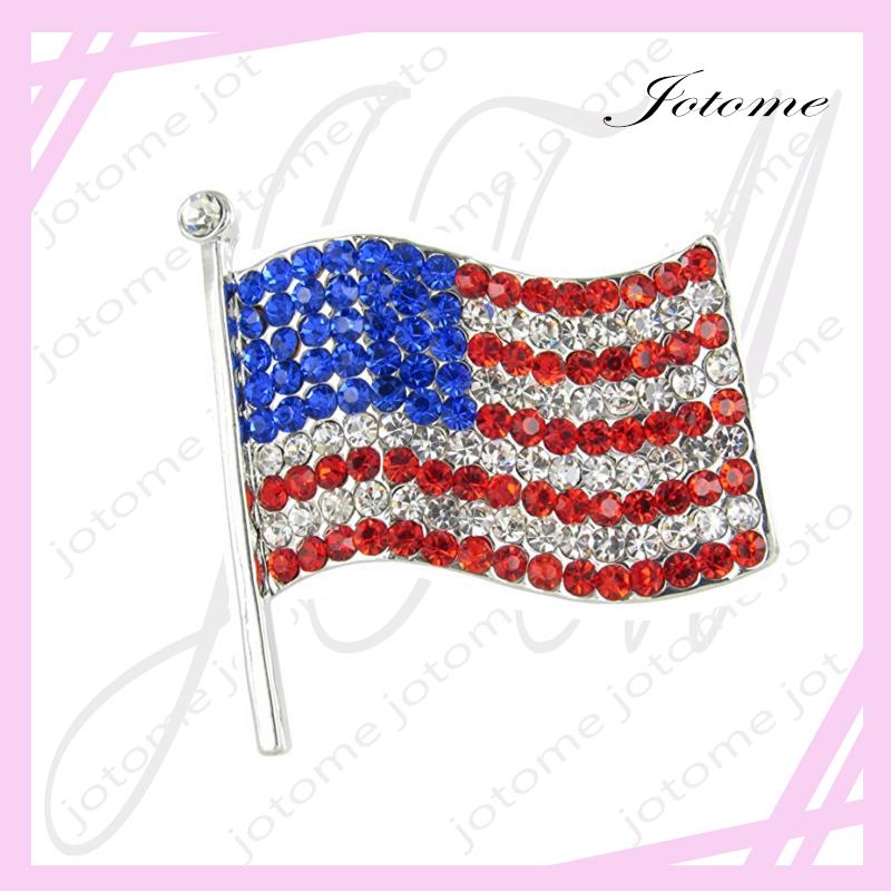 Strass rhinestone USA drapeau américain Ruban Broches Pins patriotique Bijoux