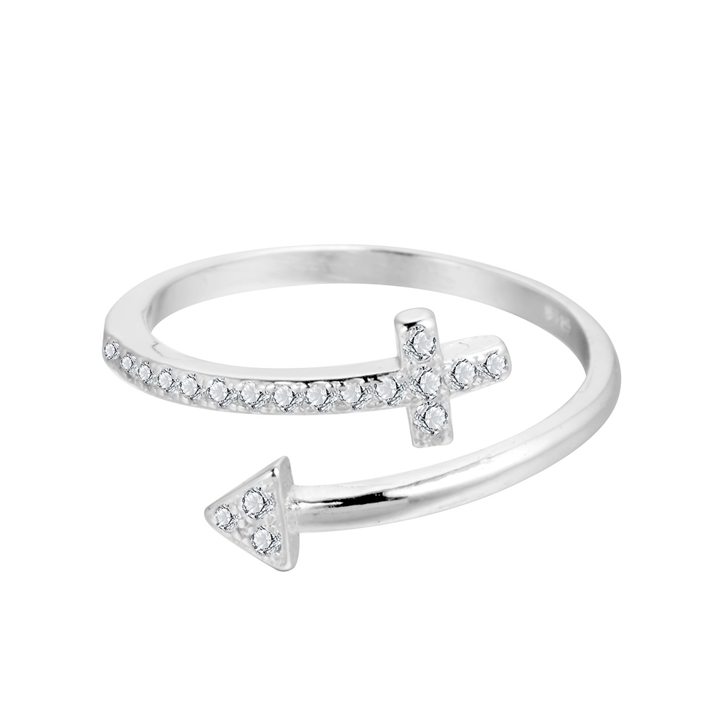 Womens Solid 925 Sterling Silver Plain Arrow Ring 9