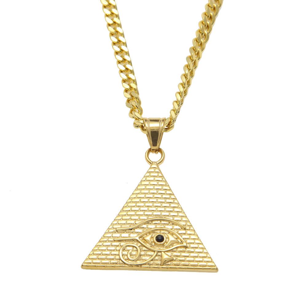 """Acier Inoxydable Argent Oeil Egypte Pyramide Collier Pendentif 24/"""" Boîte De Chaîne"""
