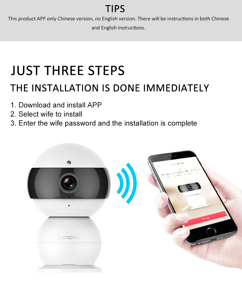 LENOVO Snowman IP Camera WiFi Wireless Mini HD 720P Security Camera Baby  Monitor & PTZ Surveillance Camera Motion Detection Ip Cam Ip Cam Monitor  From