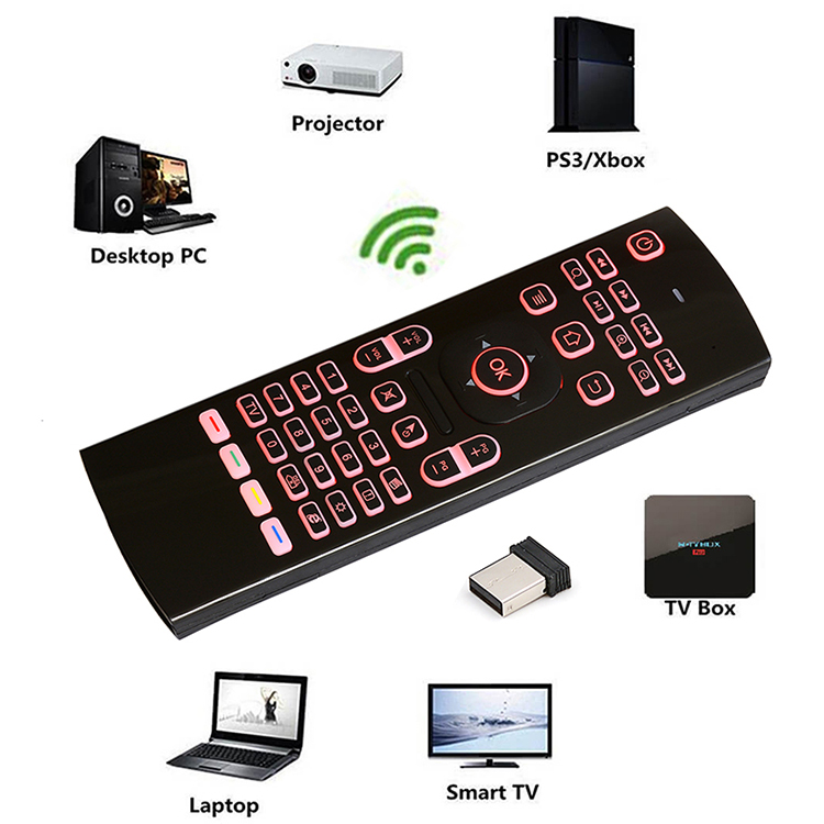 Calvas Q9 Mini keyboard 2.4GHz Wireless 433MHZ Mini Keyboard Colurful Backlight Touchpad For Android TV Box Computer TV Projectors Color: Colorful backlight