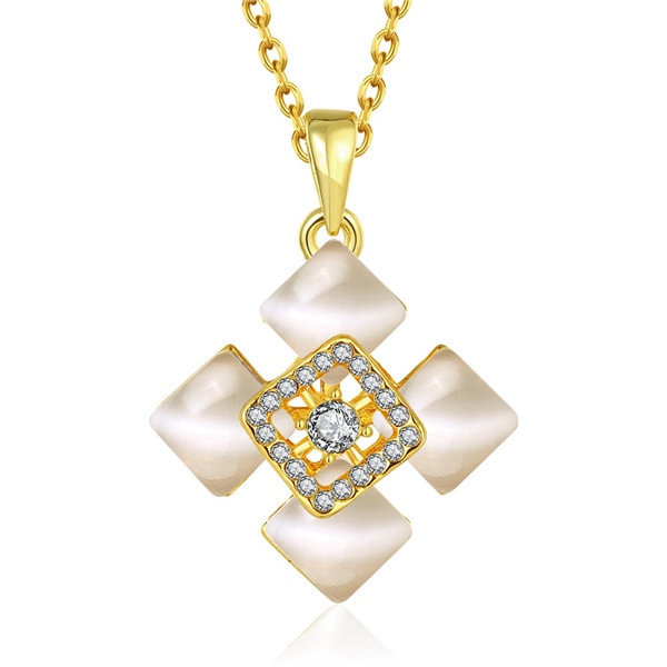 blanc Diamond Accent Triangle Collier Pendentif en Rose 10K et or jaune