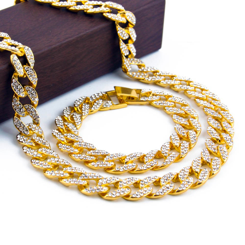 Hip Hop ICED OUT 18K Gold Plated Full Diamond Curb Cuban Link Chain Necklace & Bracelets Jewelry Sets For Men Women